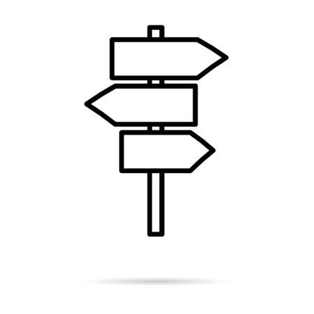 Signpost street vector illustration, road arrow symbol isolated on white background, web pointer. 向量圖像