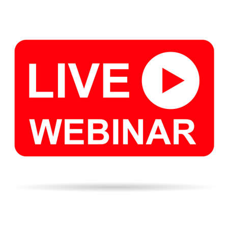 Live webinar icon, online play training seminar, internet streamimg banner button, vector illustration.