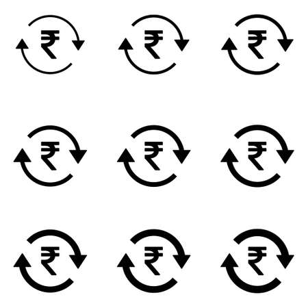 Set of rupee money icon, Collection of indian business sign, market economy vector illustration.