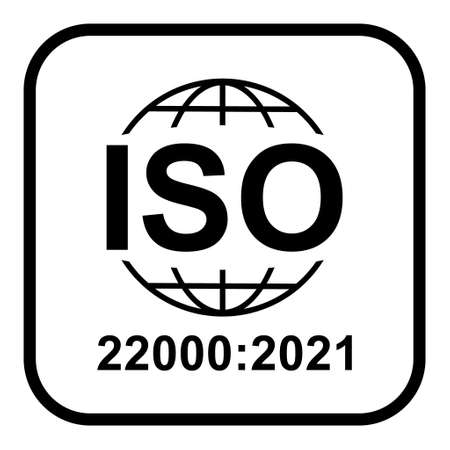 Iso 22000: 2021 icon. Food Management Systems. Standard quality symbol. Vector button sign isolated on white background.