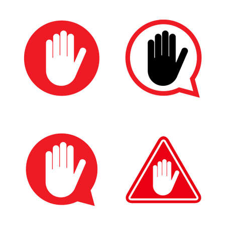 Set of stop icon with alert hand, warning  symbol, no - danger isolated on white background vector illustration.