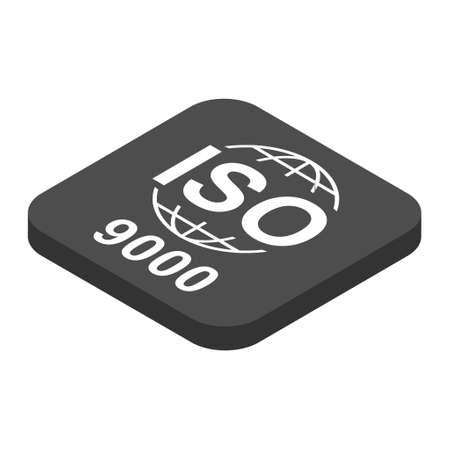 Iso 9000 isometric icon. Standard quality symbol. Vector button sign isolated on white background. 向量圖像