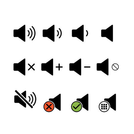 Set of music sound icon, audio volume symbol. Vector illustration graphic for app, web and media