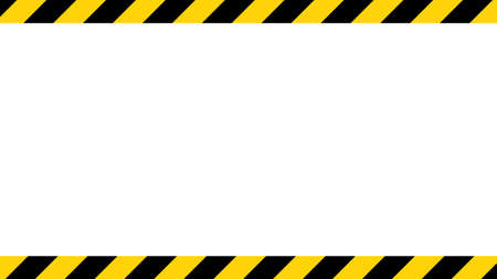 Black and yellow diagonal line striped. Blank vector illustration warning background. Hazard caution sign tape. Space for attention text.