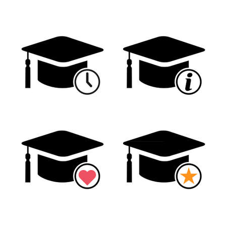 Set of cap, hat symbol isolated on white background. Graduate education illustration vector icon, success web button.