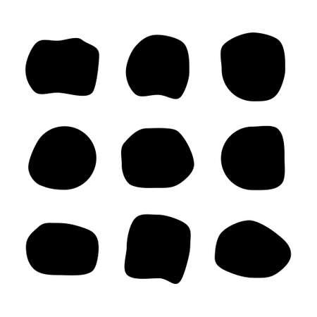 Set of abstract ink blotch, round liquid blot inkblot shape. Fresco pebble. Deform random smooth vector illustration. Vetores