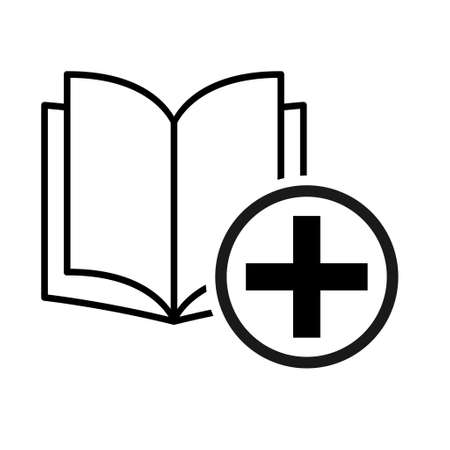 Book icon, add open education textbook, library vector illustration symbol. learning design isolated white background.