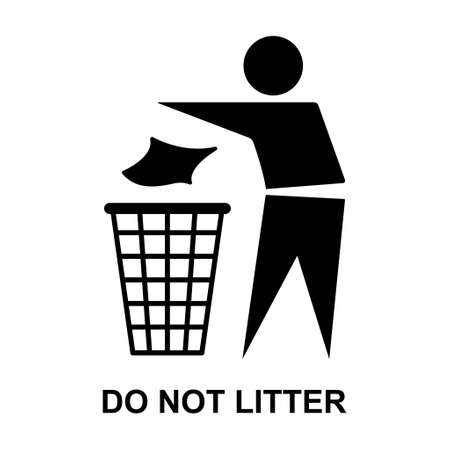 Do not litter flat icon isolated on white background. Keep it clean vector illustration. Tidy symbol. 向量圖像