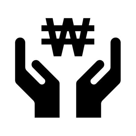 Hope icon, human hand with won symbol, help and protection graphic design, support vector illustration.