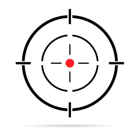 Sight gun vector icon with shadow. Modern target illustration of crosshair symbol for web design. Cross mark dot. 向量圖像