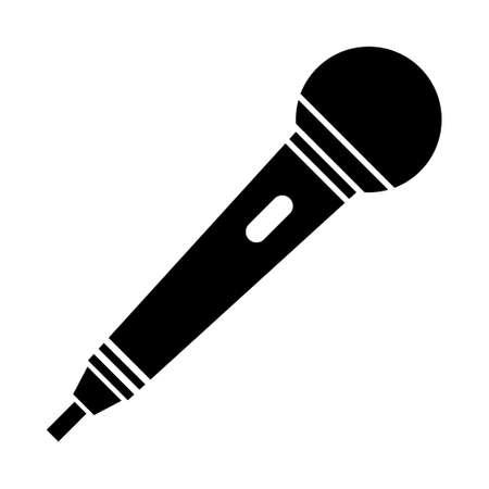 Microphone icon, audio speech symbol, record concert sign, web button design, karaoke flat speak.