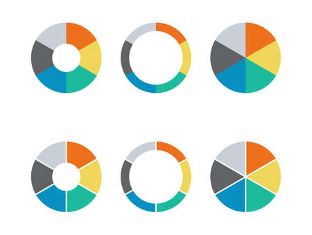Infographic pie chart set. Cycle presentation diargam of collection 6 section. Vector isolated on white background.