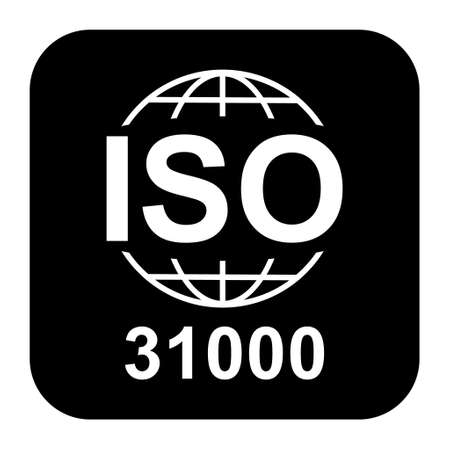 Iso 31000 icon. Risk Management. Standard quality symbol. Vector button sign isolated on white background. 向量圖像