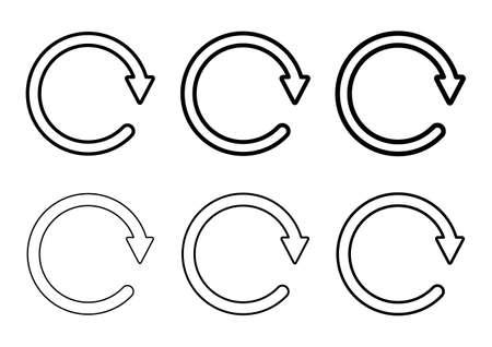 Set of blank circular symbol, arrow icon, refresh graphic vector. Collection of web button.