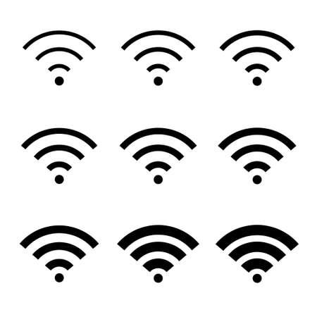 Set of Wifi internet symbol, wifi free signal vector illustration, wireless mobile icon, wi fi free.