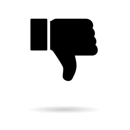 Thumb down with shadow icon, like finger vector illustration sign, business social web button. 向量圖像