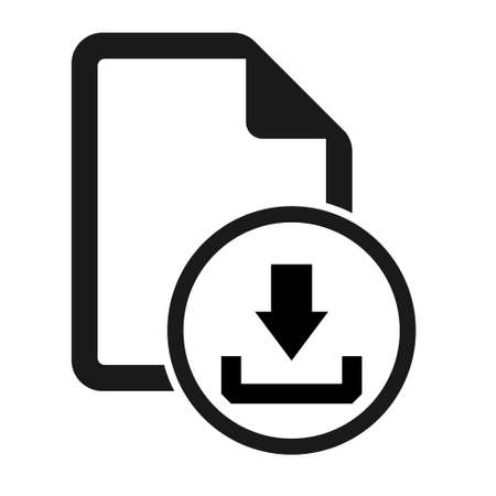 File flat icon with download symbol isolated on white background. Document vector illustration. 向量圖像