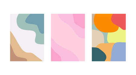 Set of Abstract backgrounds in minimal trendy style templates for social media, free space card, brochure, postcard.