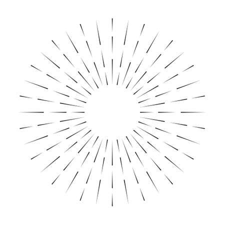Sunburst line icon isolated on white background, summer web banner, retro circle design, vector illustration.