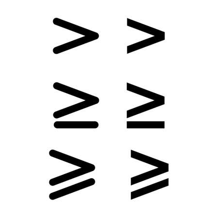 Set of greater than mathematics symbol, education maths icon, web element vector illustration design, finance sign.