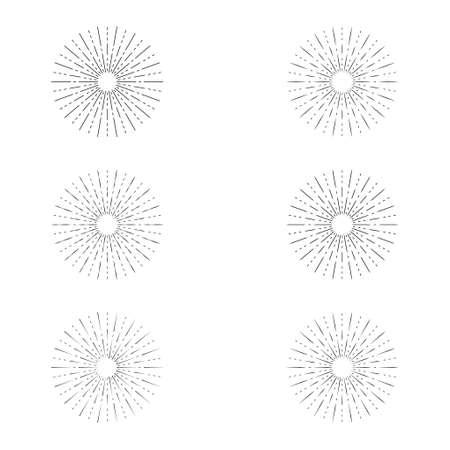 Set of sunburst line icon isolated, collection of summer web banner, retro circle design, vector illustration. 向量圖像