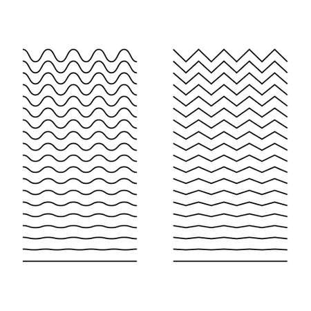 Set of wavy, curvy, zigzag horizontal lines. Vector simple new design element. 向量圖像