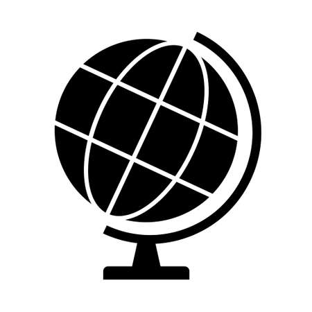 Globe map icon, Earth globe symbol, travel to world, plated for web, logo, website vector illustration. 向量圖像