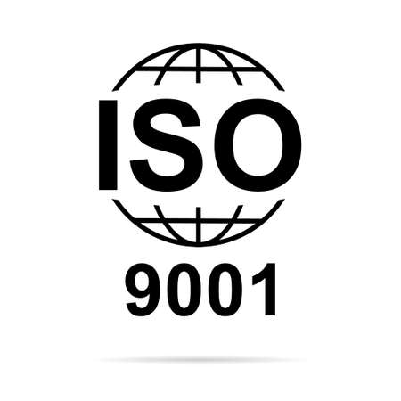 Iso 9001 icon. Standard quality symbol. Vector button sign isolated on white background.