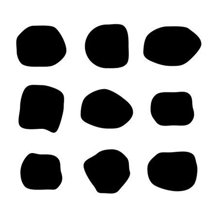 Set of abstract ink blotch, round liquid blot inkblot shape. Fresco pebble. Deform random smooth vector illustration.