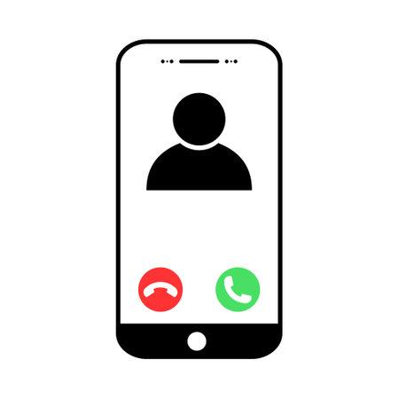 User call icon, incomimg phone, mockup digital mobile, flat design vector illustration.