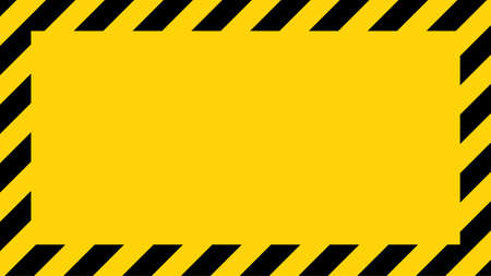 Black and yellow diagonal line striped. Blank vector illustration warning background. Hazard caution sign tape. Space for attention text. 向量圖像