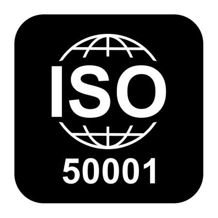 Iso 50001 icon. Energy Management. Standard quality symbol. Vector button sign isolated on black background.