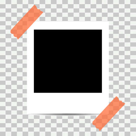 Old photo empty frame isolated on transparent background. Blank instant frame vector illustration, template card. 向量圖像