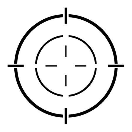 Sight gun vector icon. Modern target illustration of crosshair symbol for web design. Cross mark dot. 向量圖像