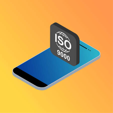 Iso 9000 isometric icon. Standard quality symbol. Vector button sign isolated on color background.