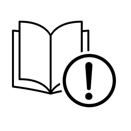 Book icon, exclamation mark education textbook, library vector illustration symbol. learning design isolated white background.