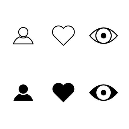 Social symbol for web, thumbs up, comment, share, person, hearth, view graphic. Icon set, collection concept.
