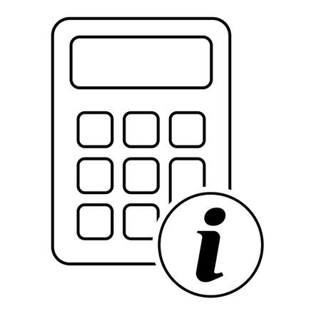 Calculator icon, mathematics web button vector illustration. Internet website finance technology design.