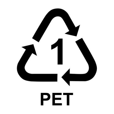 Plastic symbol, ecology recycling sign isolated on white background. Package waste icon.