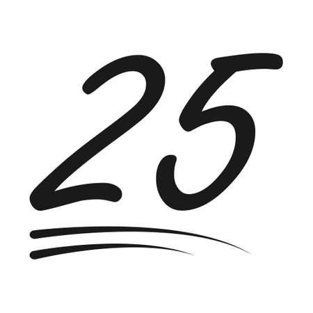 Congratulation number lettering, 25 celebrate follower icon, web online post vector illustration. 向量圖像