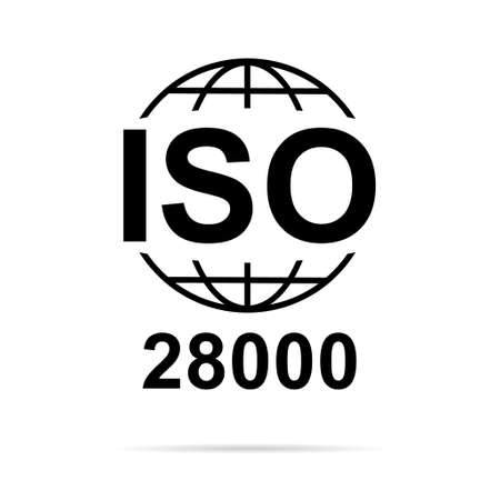 Iso 28000 icon. Security Management Systems. Standard quality symbol. Vector button sign isolated on white background. 向量圖像