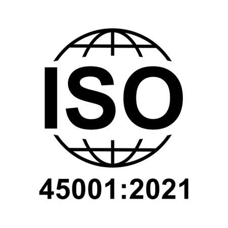 Iso 45001: 2021 icon. Occupational Health and Safety. Standard quality symbol. Vector button sign isolated on white background.