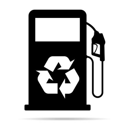 Gas station icon with shadow, nozzle isolated logo vector, pump gasoline design, oil power energy symbol.
