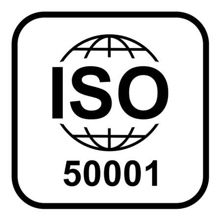 Iso 50001 icon. Energy Management. Standard quality symbol. Vector button sign isolated on white background.