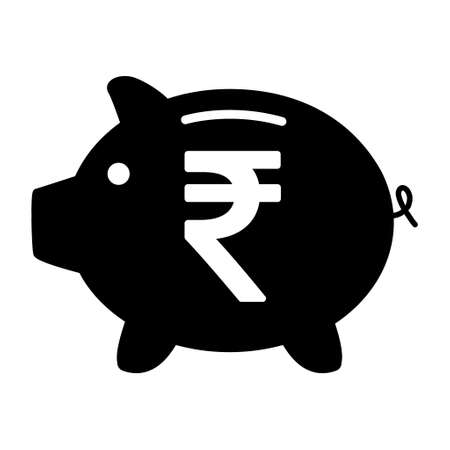 Piggy bank flat icon, vector sign with rupee web symbol. Money income, economic graphic button.