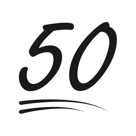 Congratulation number lettering, 50 celebrate follower icon, web online post vector illustration. 向量圖像