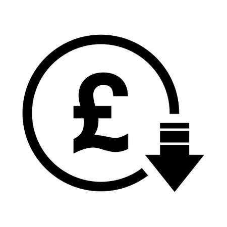 Pound reduction symbol, cost decrease icon. Reduce debt bussiness sign vector illustration.