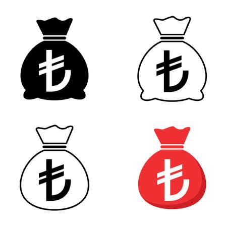 Set of Money bag icon isolated on white background. Bank symbol, profit graphic, flat web sign. 向量圖像
