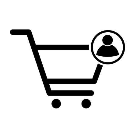 Shopping cart user sale icon, market story shop vector illustration symbol isolated on white background.