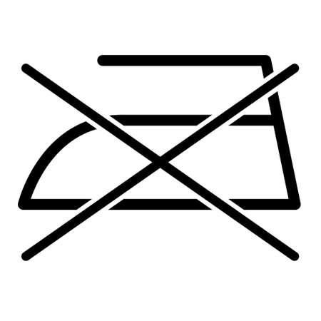 Don iront iron flat icon isolated on white background. No ironing symbol. Machine vector illustration.